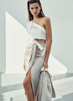 TIE WAIST SKIRT WITH SLIT