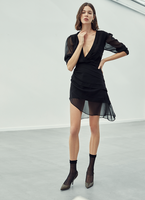 DRAPPED ASYMMETRIC CHIFFON DRESS
