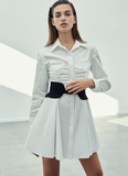 STRAPLESS DRAPE DETAIL POPLIN SHIRTDRESS