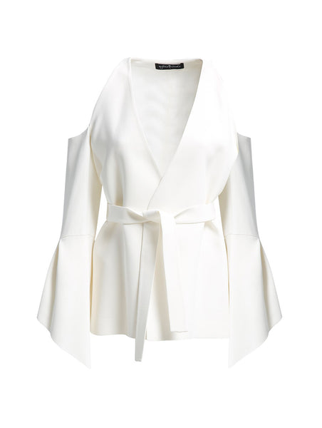 V NECK OPEN SHOULDER WHITE JACKET