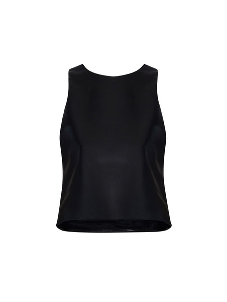 CREW NECK LEATHERETTE BUSTIERE