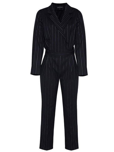 ITALIAN COLLAR STRIPED JUMPSUIT