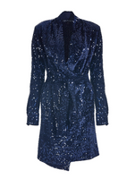 VELVET SEQUINED SHIRT DRESS