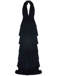 DEEP V COLLAR FRILL DETAILED NIGHT VELVET DRESS