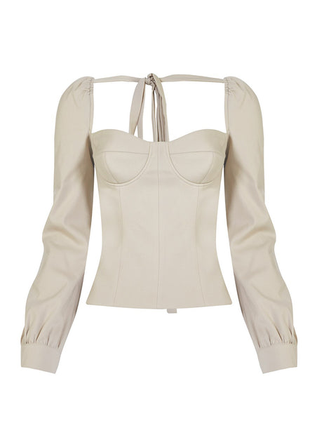 CUPPED SQUARE NECK BLOUSE