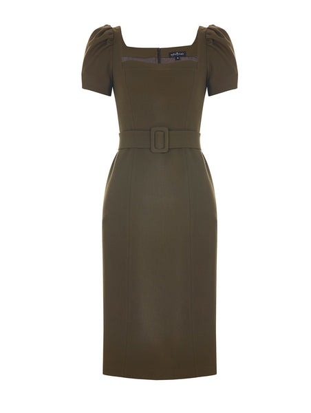 SQUARE COLLAR PENCIL COCKTAIL DRESS