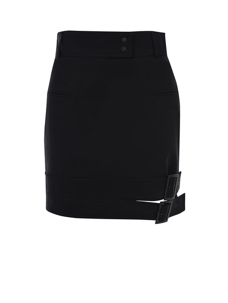 DOUBLE BELT DETAIL MINI SKIRT