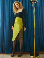 ONE SIDE SILT DETAILED PENCIL SKIRT