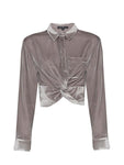 SILK VELVET CROP SHIRT