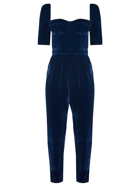 %100 SILK VELVET CUPPED JUMPSUIT