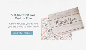 Two thank you cards with offer to get two notes free