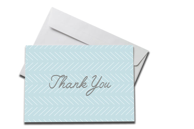 Baby Blue Slanted Lines Thank You Card on White Envelope