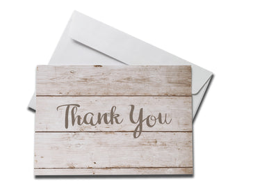 Distressed Wood Thank You Card laying on white envelope