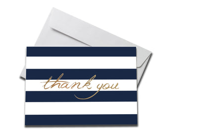 Foiled with Blue Stripes Thank You Card laying on a white envelope