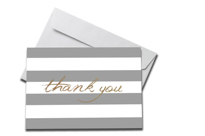 Foiled with Grey Stripes Thank You Card laying on a white envelope