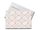 Pastel Pattern Sympathy Card laying on a white envelope