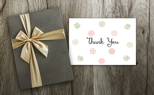 Pastel Polka Dot Shapes Thank You Note with gift next to it