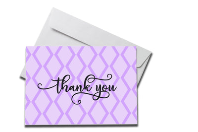 Purple Diamond Thank You Card laying on a white envelope