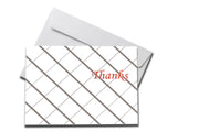 Foiled Grey Diamonds Thank You Card laying on a white envelope