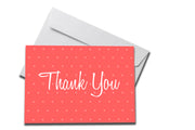 Red Small Polka Dot Thank You Cards on white envelope