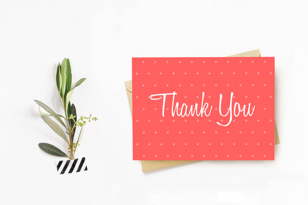 Red Small Polka Dot Thank You Card with greenery on the left
