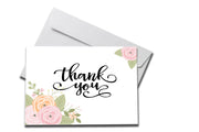 Rose Petals Thank You Card laying on a white envelope