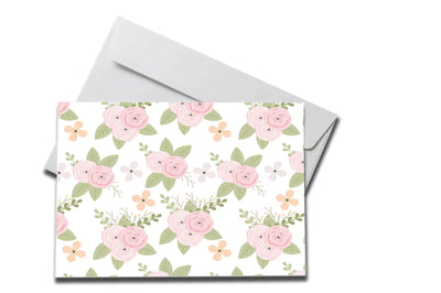 Rose Petals Sympathy card laying on a white envelope