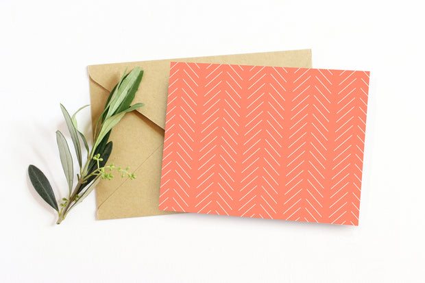 Salmon Slanted Line Sympathy or Get Well Soon Note with greenery and envelope