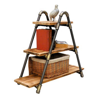 Rustic ladder shelf with books. Made with Paulownia wood and aluminum pipes.