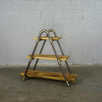 Rustic ladder shelf with Paulownia wood shelves and aluminum pipes.