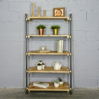 Furniture Pipeline - Orlando Farmhouse Industrial  35-Inch Leaning Bookcase