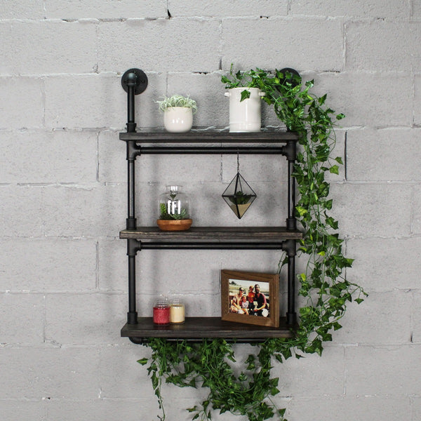 "Furniture Pipeline - Juneau Industrial Wall Mounted 24"" Wide Etagere Rack"