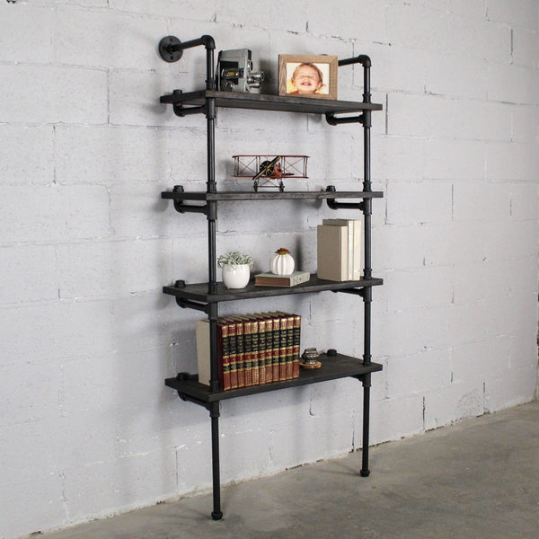 "Furniture Pipeline - Sacramento Industrial Chic  33"" Wide 4-Tier Etagere Bookcase"