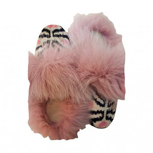 Fur Slippers Ikaat Rosa
