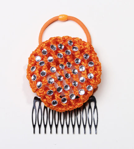 Orange Rhinestone Crochet