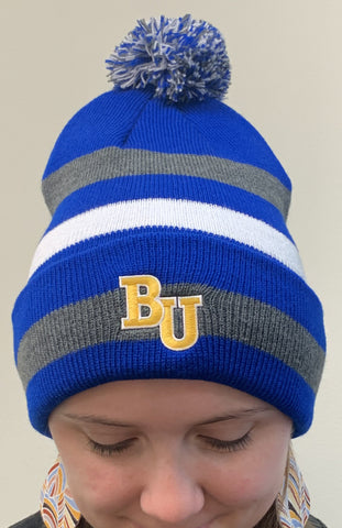 Primetime Striped Knit Hat With Pom