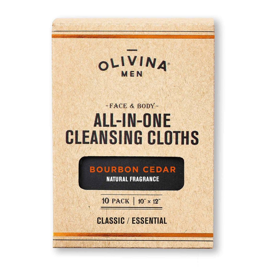 Olivina Men All-in-One Bourbon Cedar Cleansing Cloths