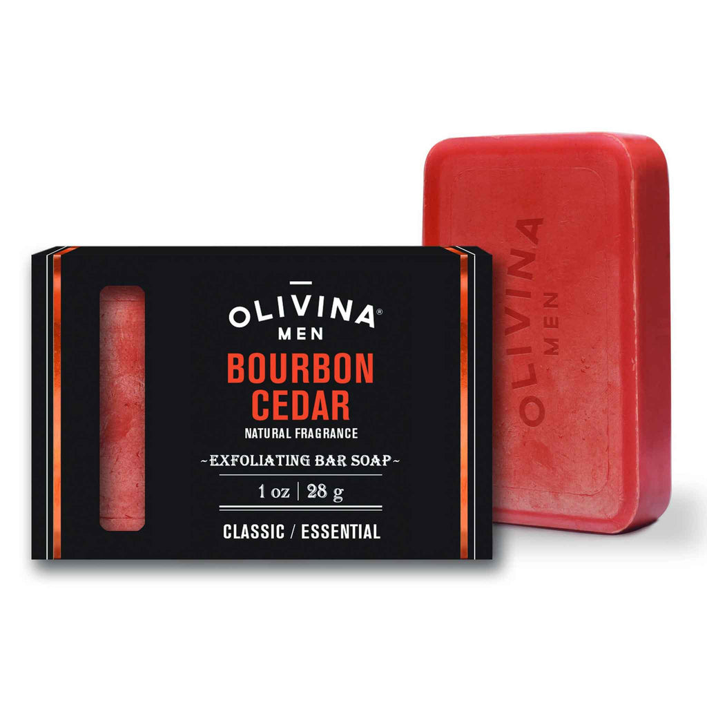 Olivina Men - Bourbon Cedar Exfoliating Bar Soap Travel Size