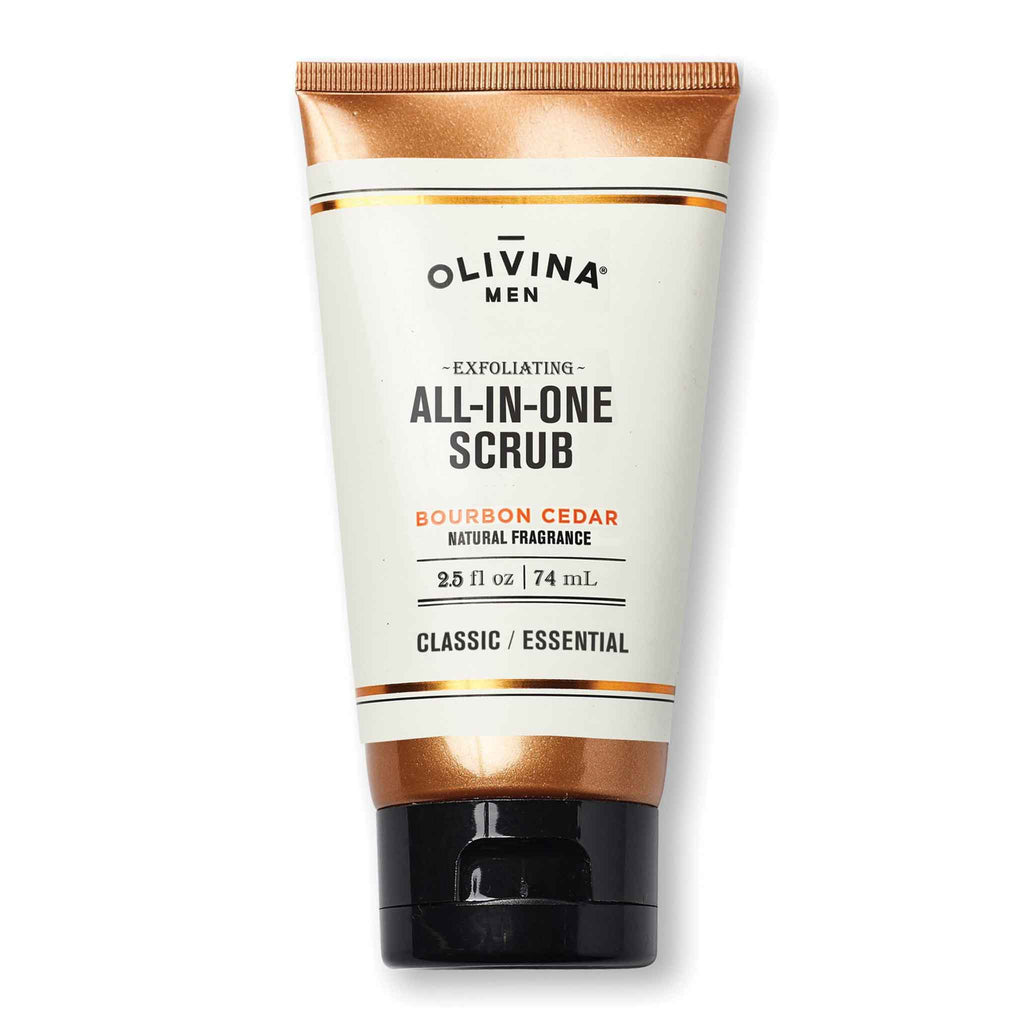 Olivina Men Exfoliating All-In-One-Scrub Bourbon Cedar Travel Size