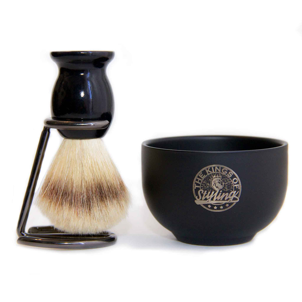 Black Stainless Steel Shaving Bowl & Brush Set