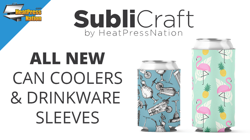 Introducing SubliCraft by HeatPressNation Sublimation Blank Can Coolers and Drinkware Sleeves