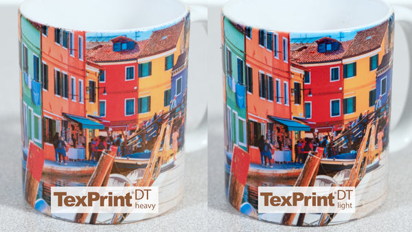 11 Ounce ORCA Mugs with TexPrint DT Heavy and DT Light