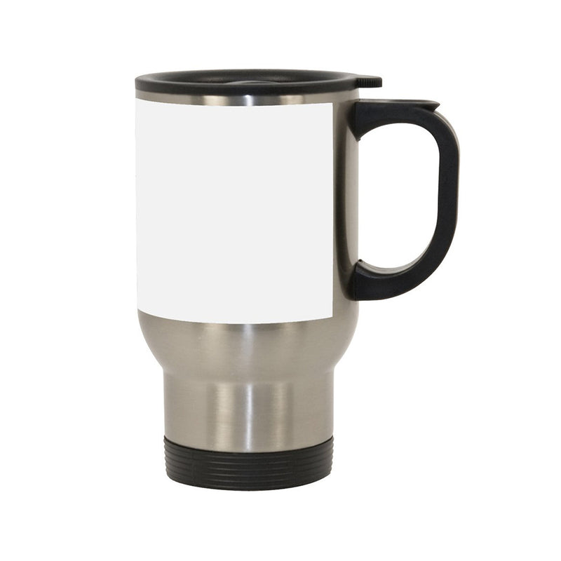 14 oz. Stainless Steel Travel Sublimation Mugs w/ White Patch - 24 Per Case