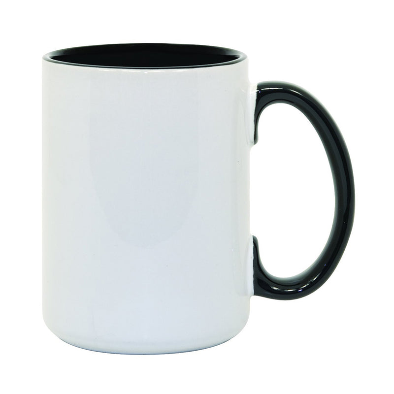 15 oz. Ceramic Sublimation Mug : Inner + Handle - 36 Per Case
