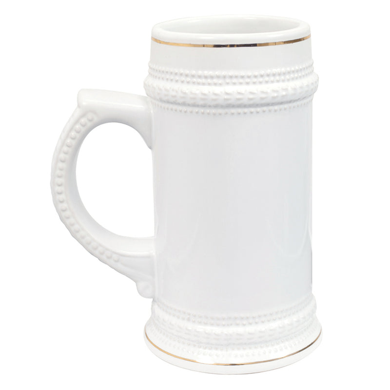 22 oz. ORCA Ceramic Sublimation Beer Stein with Gold Trim - 18 Per Case