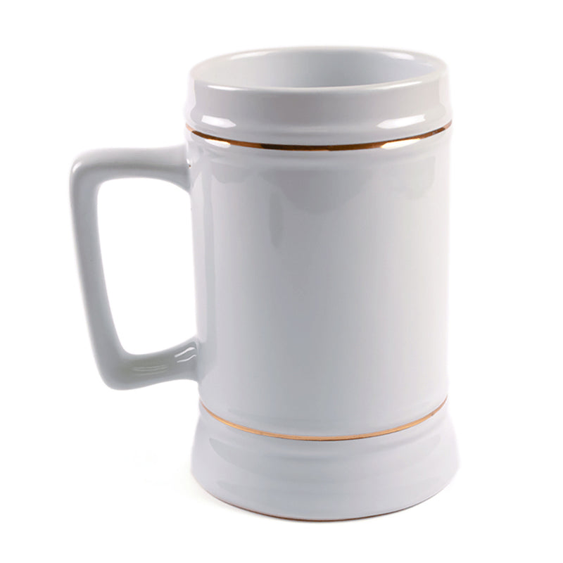 22 oz. ORCA Ceramic D-Handle Sublimation Beer Stein with Gold Trim - 180 Per Case