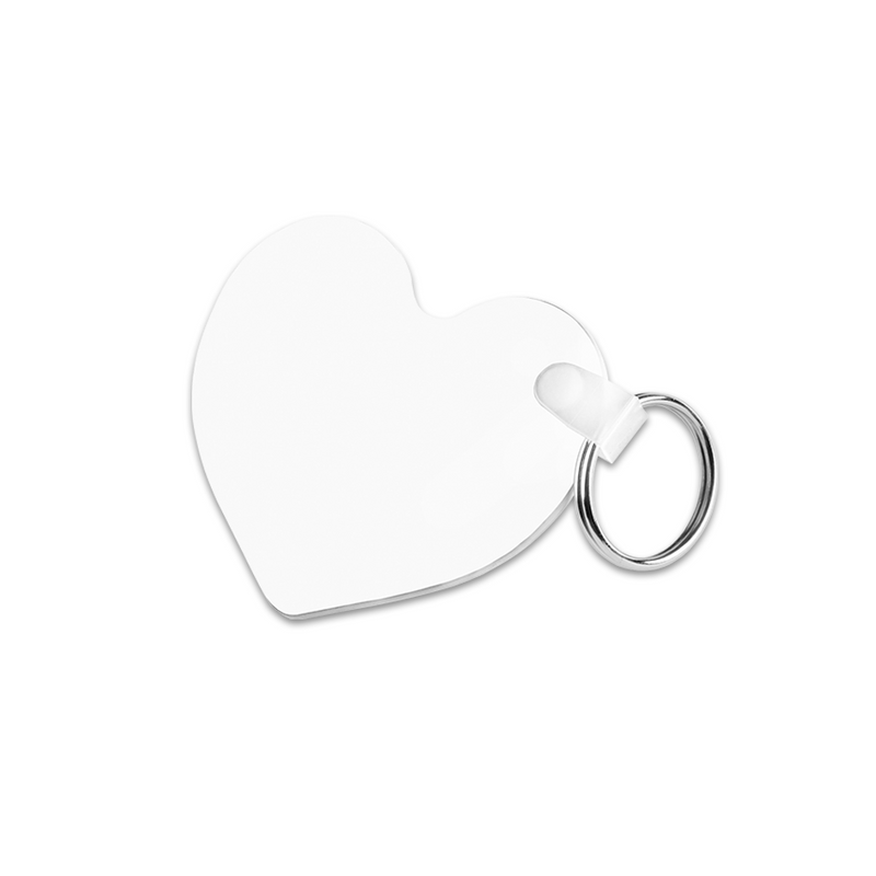 "Unisub Sublimation Blank Double Sided Heart Keychain : 2.5"" x 2.25"" - 5 Pack"