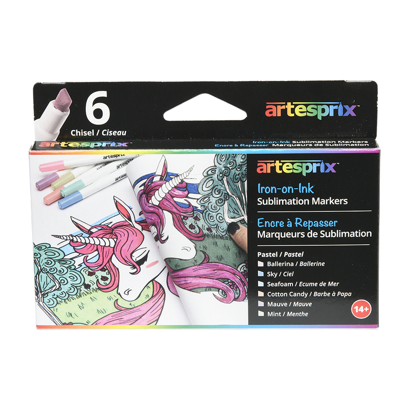 Artesprix Pastel Sublimation Permanent Thermal Heat Transfer Markers (6 ct)