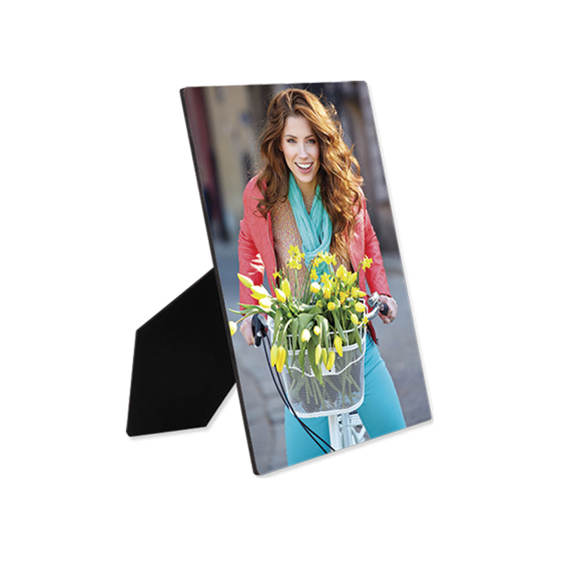 "ChromaLuxe Hardboard Sublimation Photo Panel with Easel : Gloss White : 8"" x 10"" - 6 Pack"