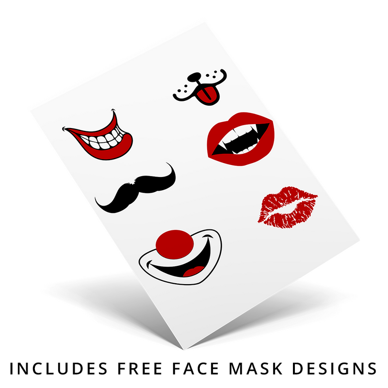 SubliCraft Sublimation Face Mask - Double Layer Silk Polyester Blank - White w/ Black Rim - 10 Pack